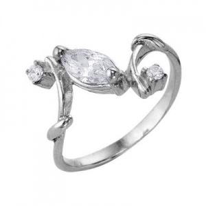 Кольцо 377 Основа - мельхиор, серебрение Вставка - фианит
