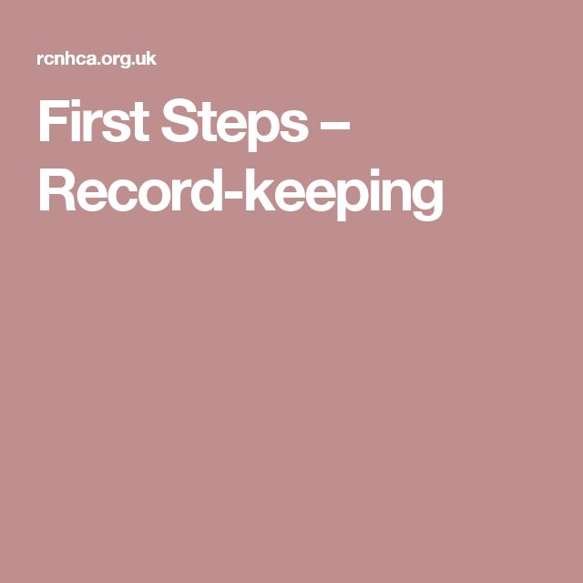 First Steps – Record-keeping