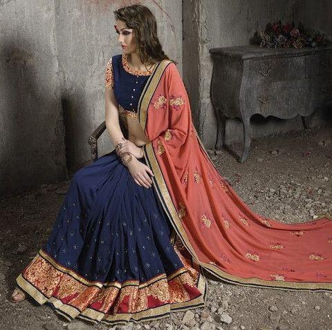 Blue & Dark Peach Color Georgette Designer Wedding Wear Sarees : Nazvi Collection  YF-38109
