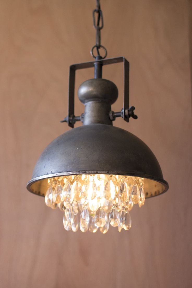 Industrial meets romantic with this metal pendant l&. Let the crystals soften the light in & 117 best Lighting/Ceiling Fans images on Pinterest | Crystal ... azcodes.com
