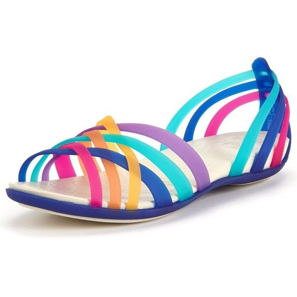 Crocs Huarache Flat Sandal ($57) ❤ liked on Polyvore featuring shoes, sandals, flat sandals, summer sandals, multi colored sandals, rainbow shoes and strappy flat sandals