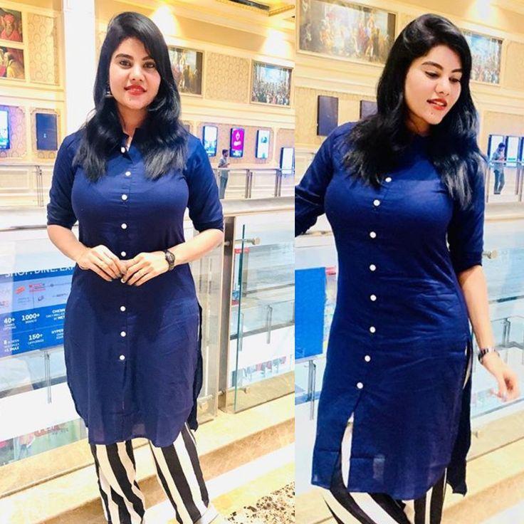 Nivisha Tamil serial actress blue salwar in 2020   Indian ...