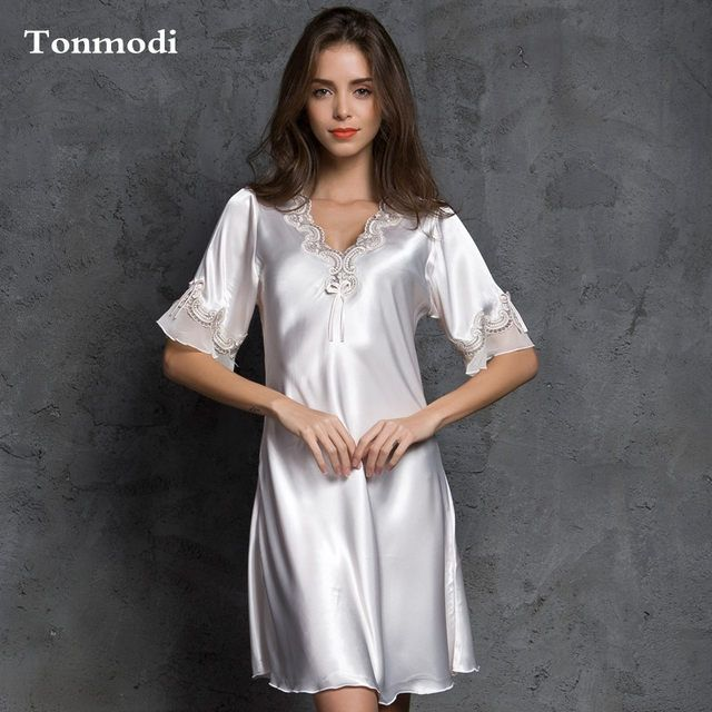 07dec489a5 Online Shop Nightgown For Women Summer Nightgown Silk Sleepwear V-neck Sexy  lace lounge nightshirt plus size XXL | Aliexpress Mobile