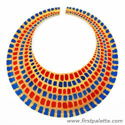 Egyptian Collar ~ Paper Plate  http://www.firstpalette.com/Craft_themes/Wearables/egyptiancollar/egyptiancollar.html