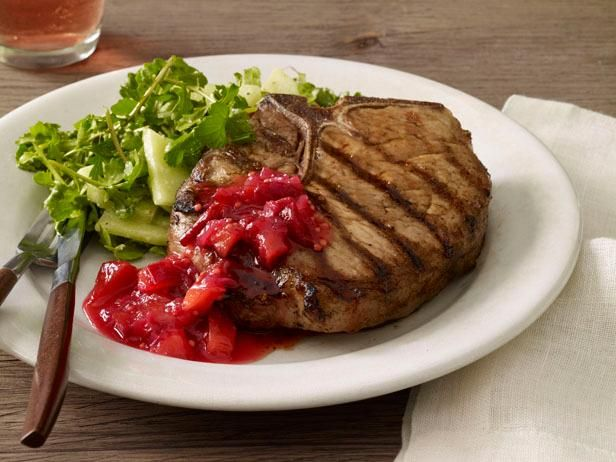 Get Grilled Pork Chops With Plum-Ginger Chutney Recipe from Food Network