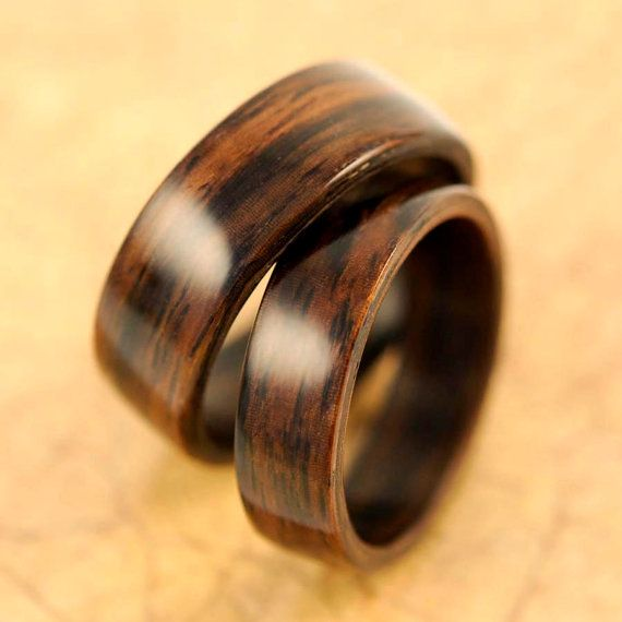 handcrafted jewelry wooden wedding ring set by bentbands