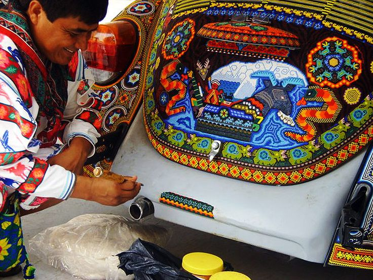 Huichol bead art - transforming a Beetle... link to video about this bead style... in Spanish. I need a translator.