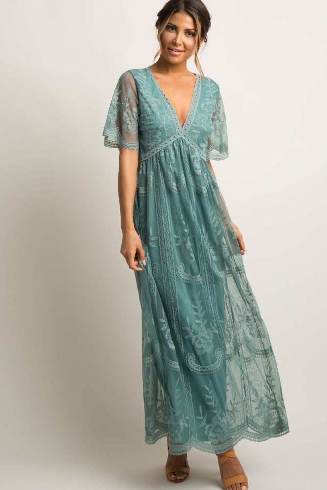 f0bb8a0f31e80 Sage Lace Mesh Overlay Maternity Maxi Dress | ஐI stalk fashionஐ ...