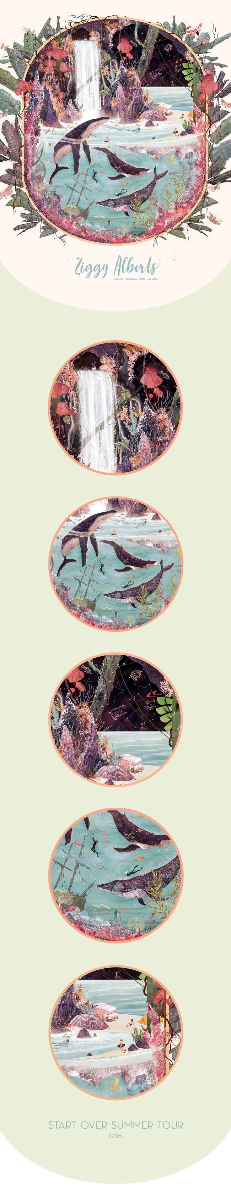 Ziggy Alberts - Start Over Summer Tour Artwork 2016 on Behance  - Illustration by Svabhu Kohli