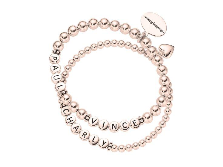 ladies rosegolden silver letter bracelet set