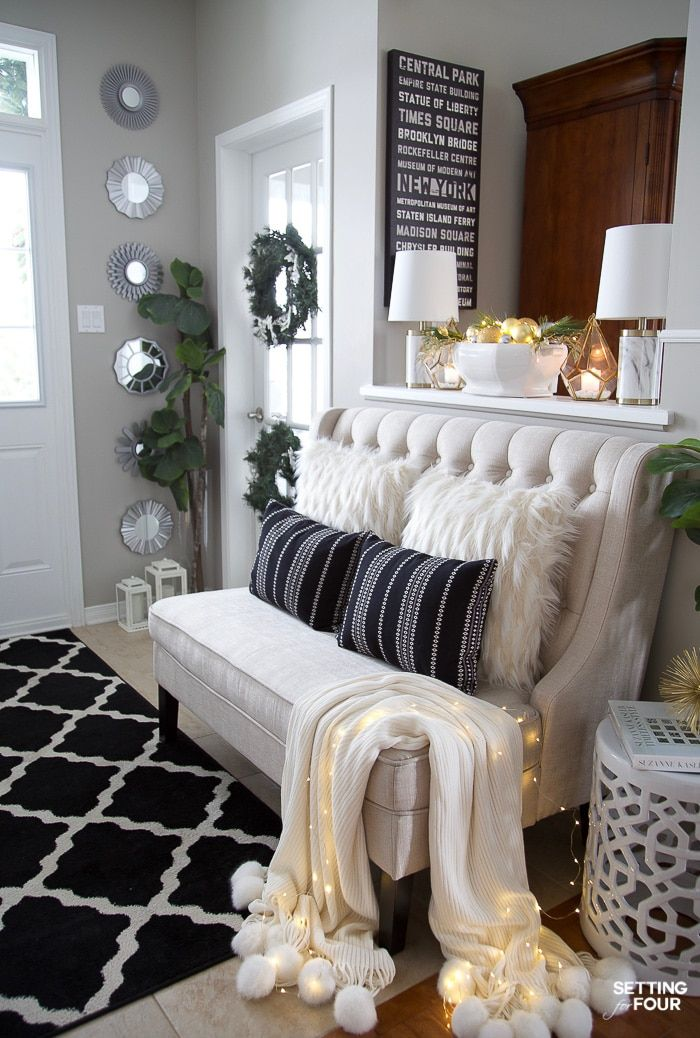 Elegant Silver And Gold Christmas Entryway Decor Ideas Bench
