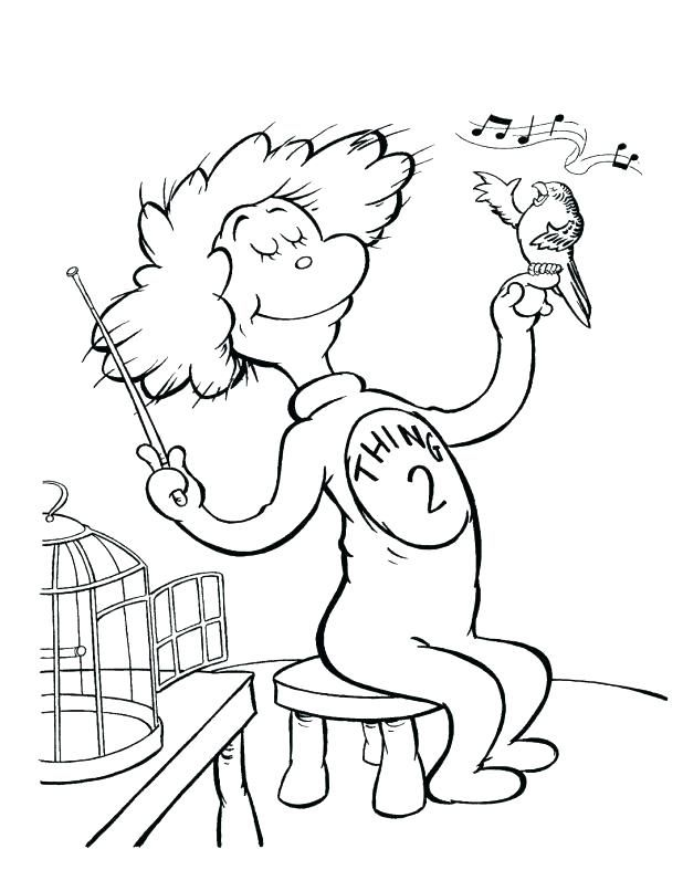 Thing 2 coloring page Birthday coloring pages, Dr seuss