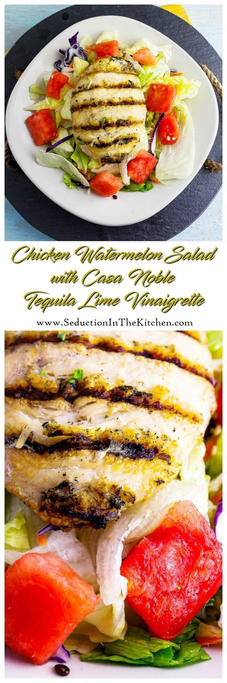 Chicken Watermelon Salad with Casa Noble Tequila Lime Vinaigrette is a healthy salad that features Casa Noble Tequila in a vinaigrette that is wonderful via @SeductionRecipe