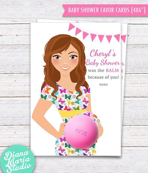 Baby Shower Favors EOS lip balm  Favor Card by DianaMariaStudio