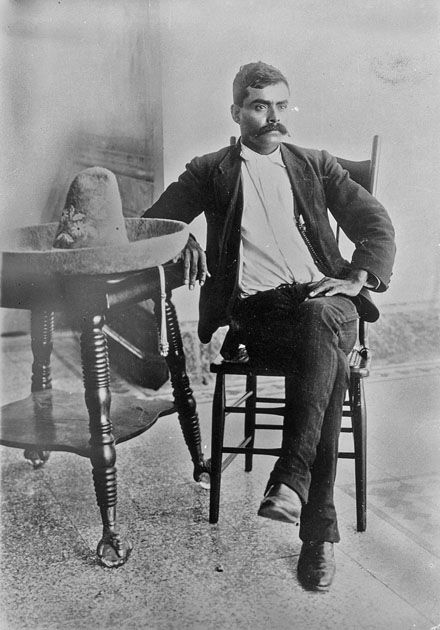 emiliano zapata, first guerrillero to popularize skinny jeans.  Also the twenty gallon riding hat. John Wayne and Clint Eastwood got their looks from Mexicans, originators of the Western cowboy hat.
