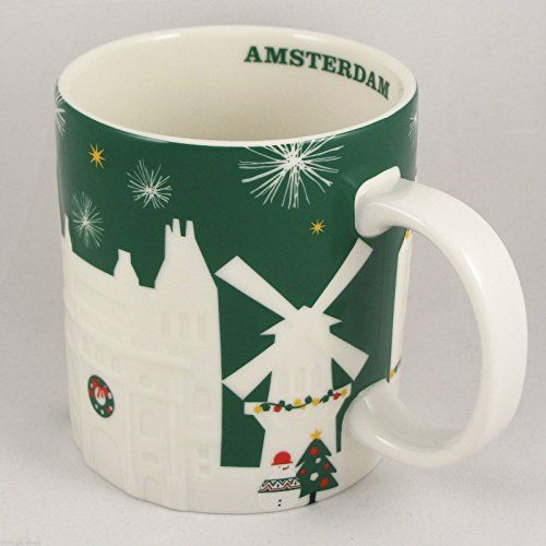 Starbucks Green Relief Mug Amsterdam Christmas Holiday 20...