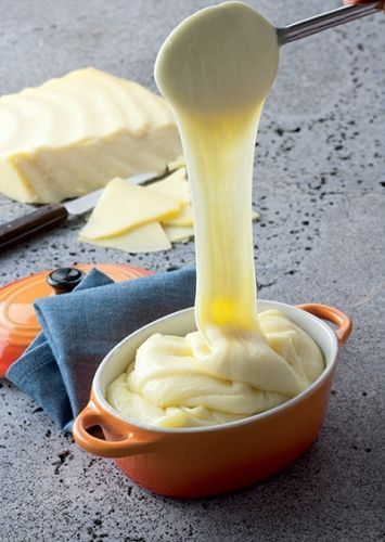 Aligot is a dish made from cheese blended into mashed potatoes that is made in L'Aubrac region in southern Massif Central of France. This fondue-like dish from the Aveyron department is a common sight in Auvergne restaurants
