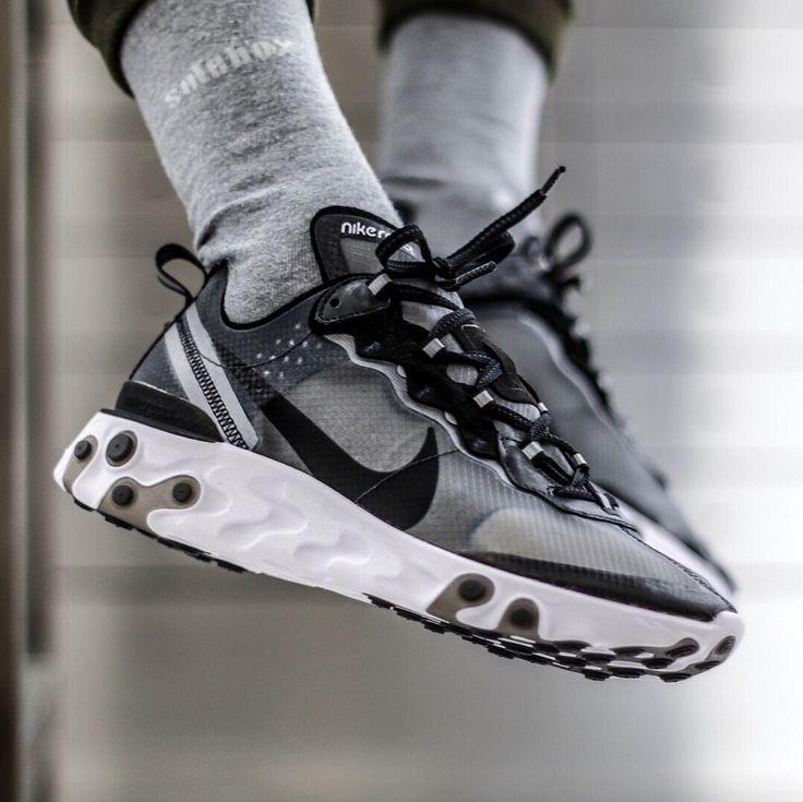 nike-react-element-87-grise-et-noire (3) | Sneakers men fashion ...