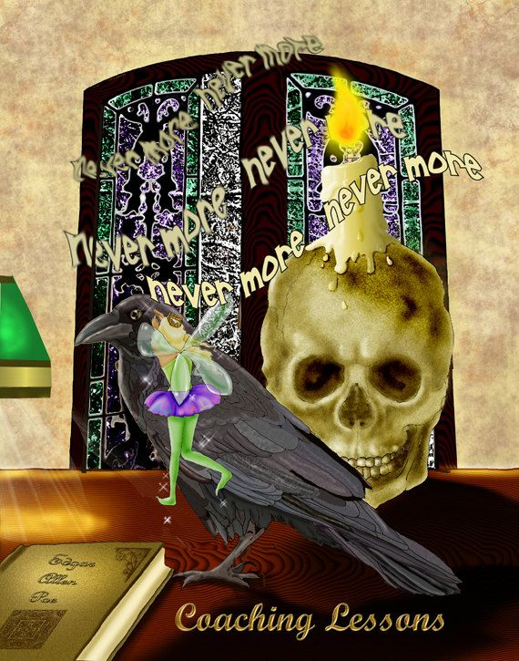 Coaching Lessons. goth fairy skull raven Poe poetry funny. 11x14 unframed limited edition art print on Etsy, $25.00