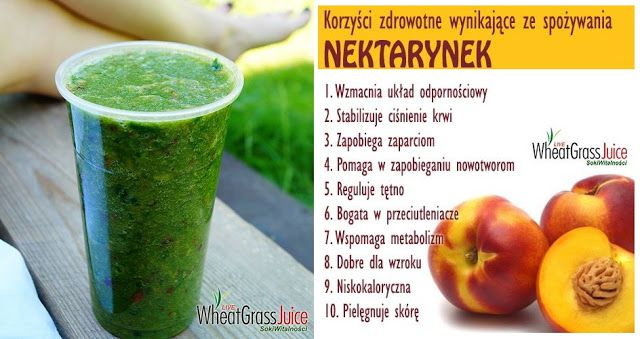Zielone koktajle: kalarepa + nektarynki + jabłka + zielony jęczmień