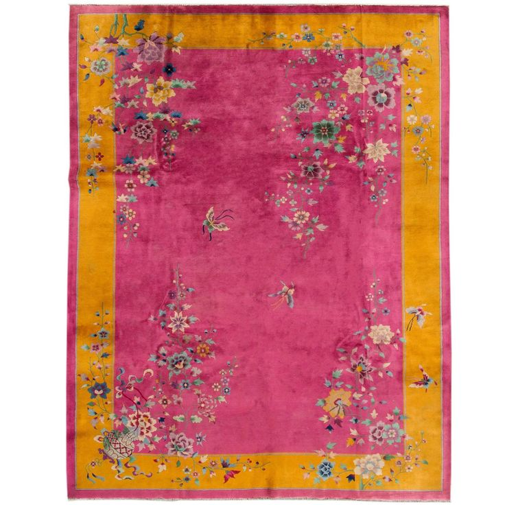 Pink Chinese Deco Rug   From a unique collection of antique and modern chinese and east asian rugs at https://www.1stdibs.com/furniture/rugs-carpets/chinese-rugs/