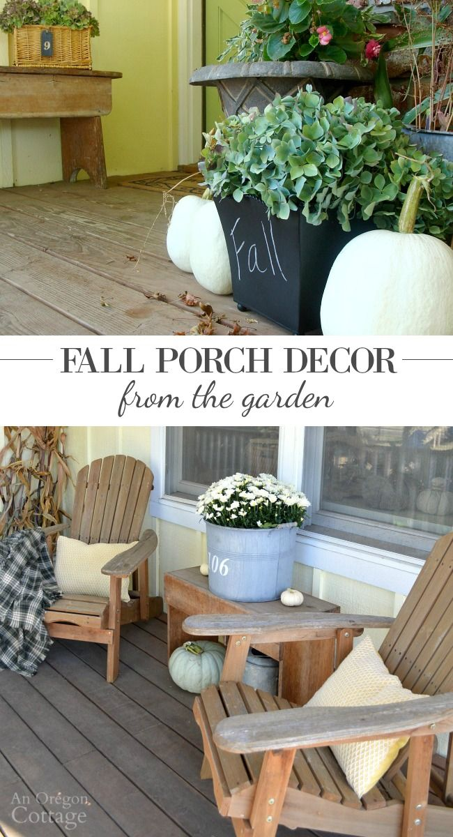 Fall Porch Decorating From the Garden- update your porch for autumn with simple…