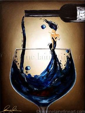 """Blue Belle Notes"" by © Leanne Laine Fine Art https://www.facebook.com/leannelainefineart #wine #wineart #winepainting #fineart #art #paintings #bluebellenotes"
