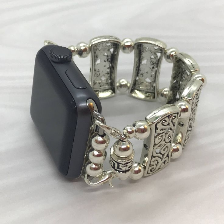 Silver - Apple Watch Band 42MM, Apple Watch Band 38MM, Watch Bracelet, Ladies Wristlet, Ladies Watch Band by AprilRainFashions on Etsy https://www.etsy.com/listing/568461784/silver-apple-watch-band-42mm-apple-watch