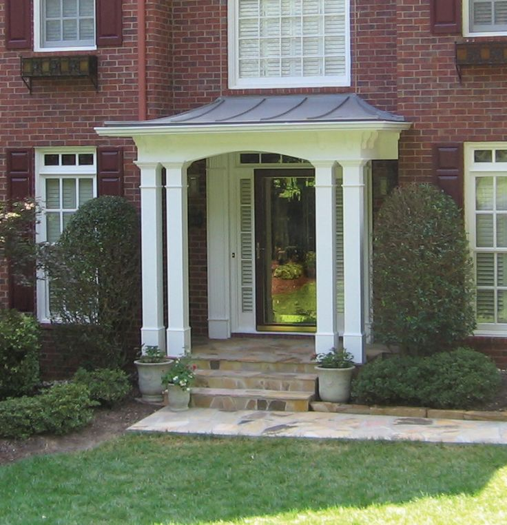 25 best ideas about portico entry on pinterest side for Front door roof designs