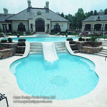 Infinity Edge Pool with Raised Spa and Slide modern pool