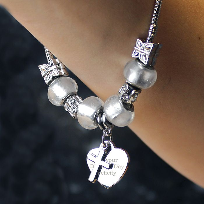 Personalised Ice White Cross Charm Bracelet  http://justtherightgift.co.uk/personalised-ice-white-cross-charm-bracelet-21cm.html