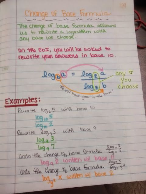 Change of Base Formula Notes