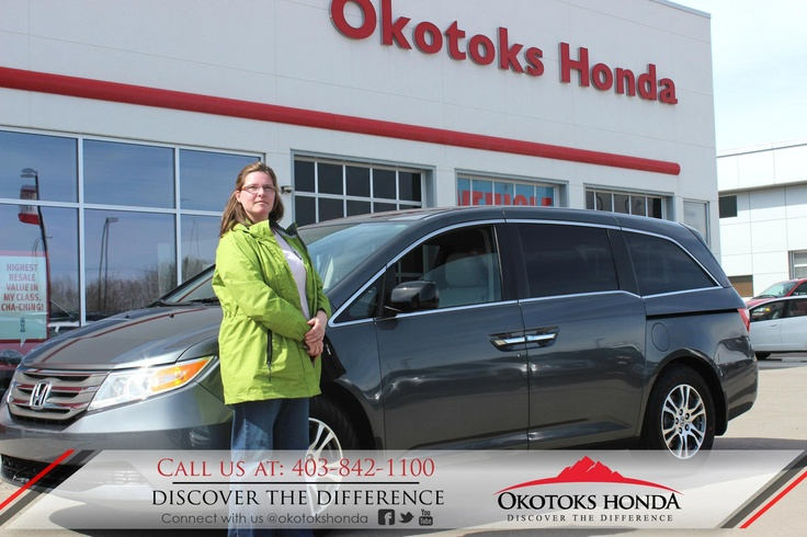 Mrs. Burrows and her Honda Odyssey - thanks to Harry Loewen. Welcome to the OH Family! Call Okotoks Honda at 403.842.1100 for your next Honda or for your Odyssey maintenance needs!