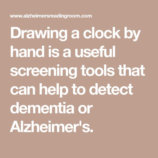 Drawing a clock by hand is a useful screening tools that can help to detect dementia or Alzheimer's.
