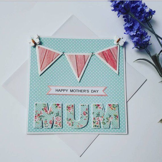 Mother S Day Card Happy Mother S Day Card For Mum Mam Mom Nan Pink Bunting Mum Card Green And Blue Polka Dot Mother S Day Card Happy Mother S Day Card Happy Mothers Day