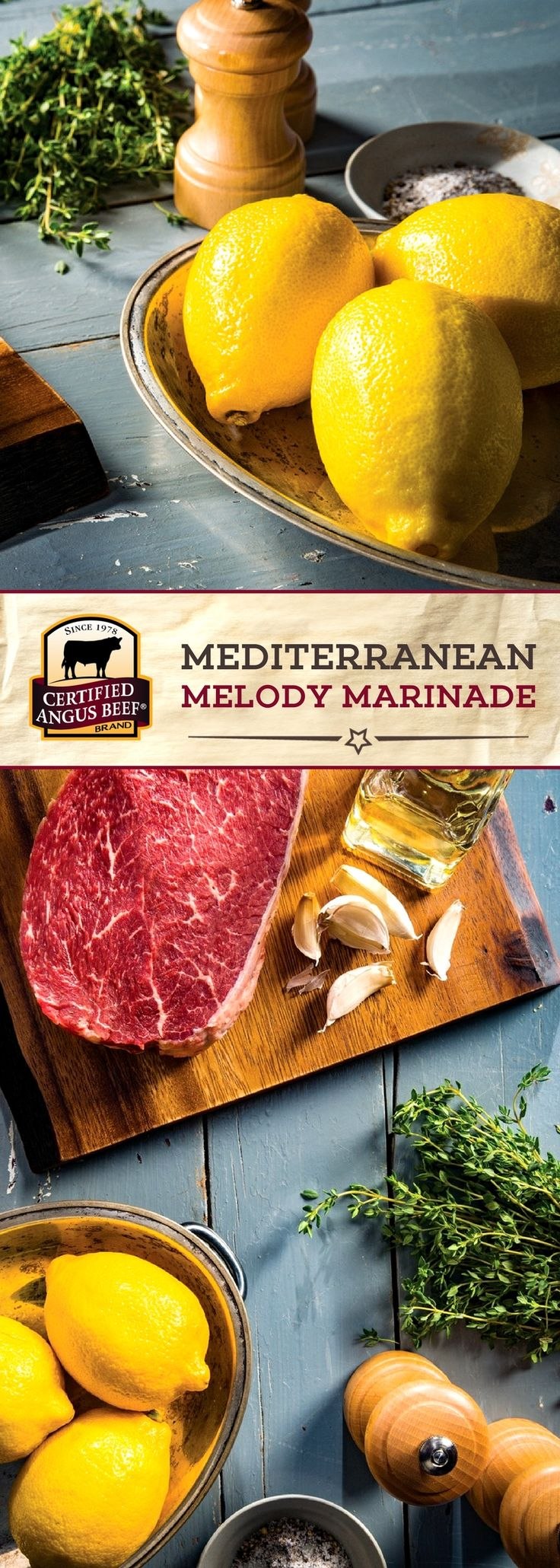 Certified Angus Beef®️️ brand Mediterranean Melody Marinade is a MUST-TRY! Combining lemon juice, olive oil, garlic and thyme, this marinade is PACKED with zesty, BOLD flavor!  #bestangusbeef #certifiedangusbeef #marinade #seasoning