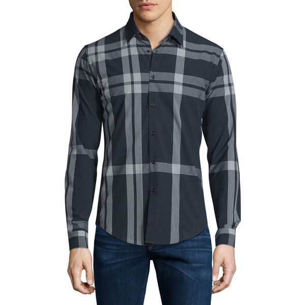 Burberry London Slim-Fit Check Sport Shirt (29.465 RUB) ❤ liked on Polyvore featuring men's fashion, men's clothing, men's shirts, men's casual shirts, navy, burberry mens shirts, mens slim shirts, mens slim fit shirts, mens sports shirts and old navy mens shirts