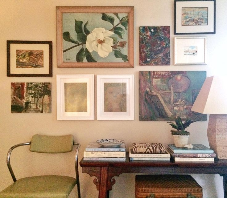 artsandhomes.com, gallery wall, vintage, art, oil paintings, floral, magnolia, abstract, watercolor, eclectic, bohemian, entry, living room, family room, books, styling, beach, casual, transitional, designer, best art, art wall, modern chair, asian bench, table lamp, one kings lane, rattan, palos verdes, manhattan beach, los angeles, california