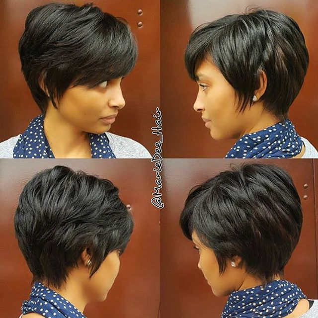 STYLIST FEATURE| Love this grown out #pixie ✂️ styled by #NYCHairstylist @Mariedee_Hair❤️ Perfect shape when you're trying to grow out a short cut #voiceofhair