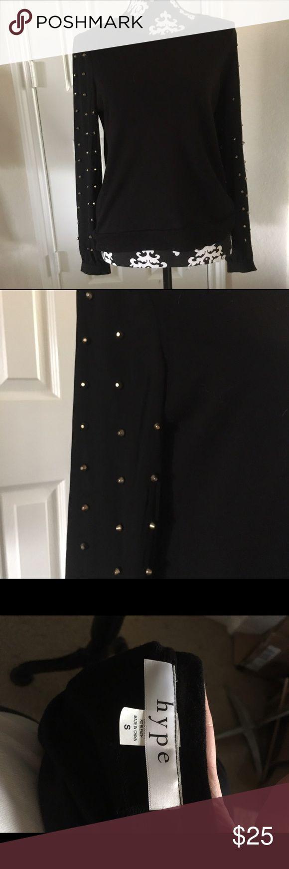Hype Long Sleeve Top Black Hype Long Sleeve Top.  Body of Blouse is Like a Sweatshirt; Sleeves Sheer w/Brass Grommets Hype Tops Blouses