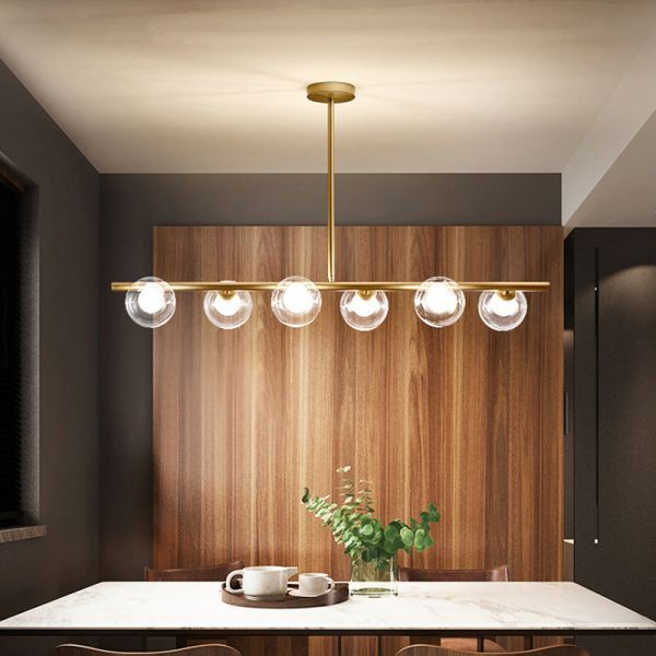 Linear Island Light Fixture Nordic Metal 6 Heads Gold Hanging Lamp With Globe Clear Gla Dining Room Light Fixtures Island Light Fixtures Hanging Ceiling Lights