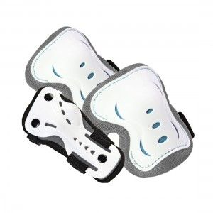 Junior Knee, Wrist and Elbow Pads: Silver/White