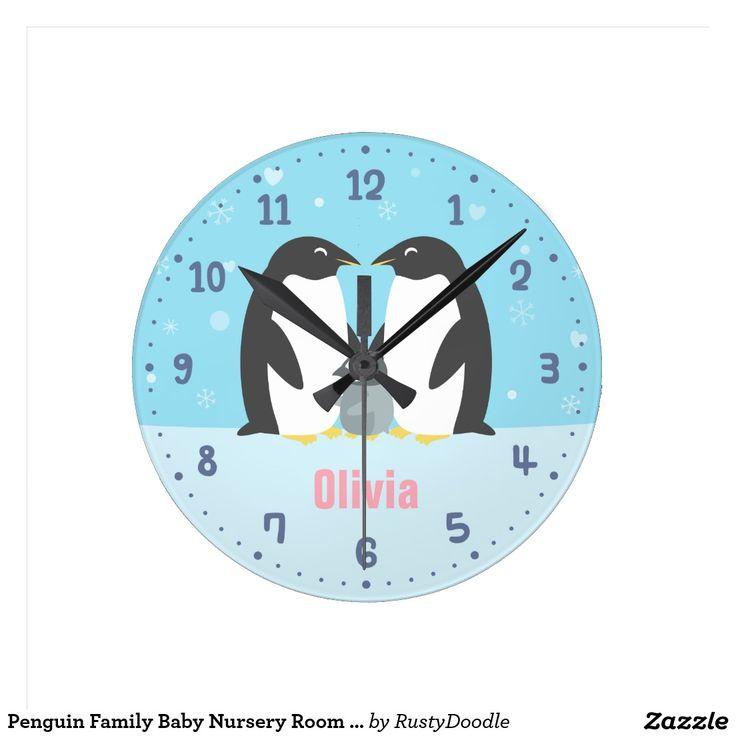 Penguin Family Baby Nursery Room Decor Clock
