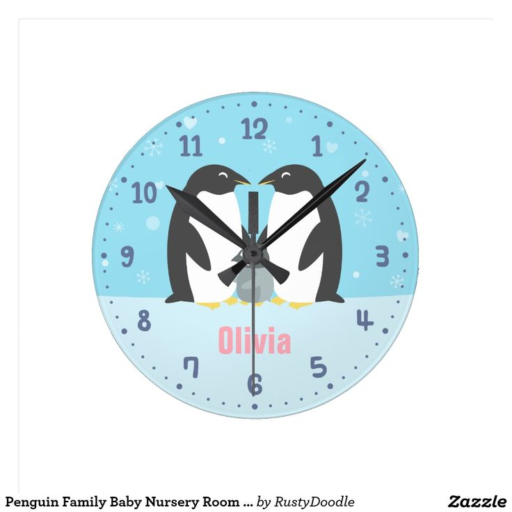 Penguin Family Baby Nursery Room Decor Clock