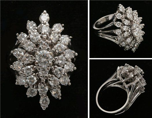 Элегантное золотое кольцо «Маркиза» с природными бриллиантами
