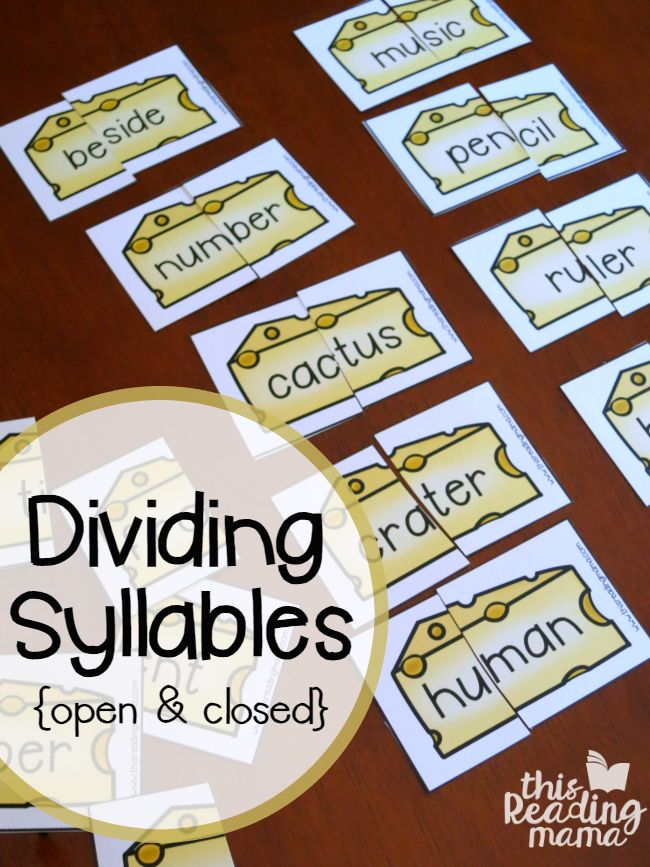 """Are you working on dividing syllables, specifically with open and closed syllables? Your learners won't be able to resist these """"cut the cheese"""" syllable cards from my 6 Syllable Types Interactive Pages Pack! *The free download can be found towards the END of this post. Just click on the teal download button. **This post contains …"""