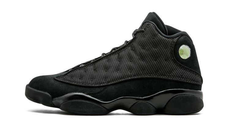 This all black colorway was inspired by a black cat, a nickname given to Michael Jordan back in the day. These shoes are slick yet aggressive, like Jordan's play style in his prime. The shoes are all black, except the bright green jewel on the heel which represents the eye of a cat. Air Jordan 13 Retro SKU: 414571 011 Color: Black