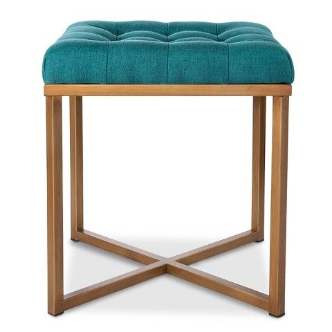 Threshold™ Button Tufted Ottoman   Blue With Brass. Dimensions: 18.0