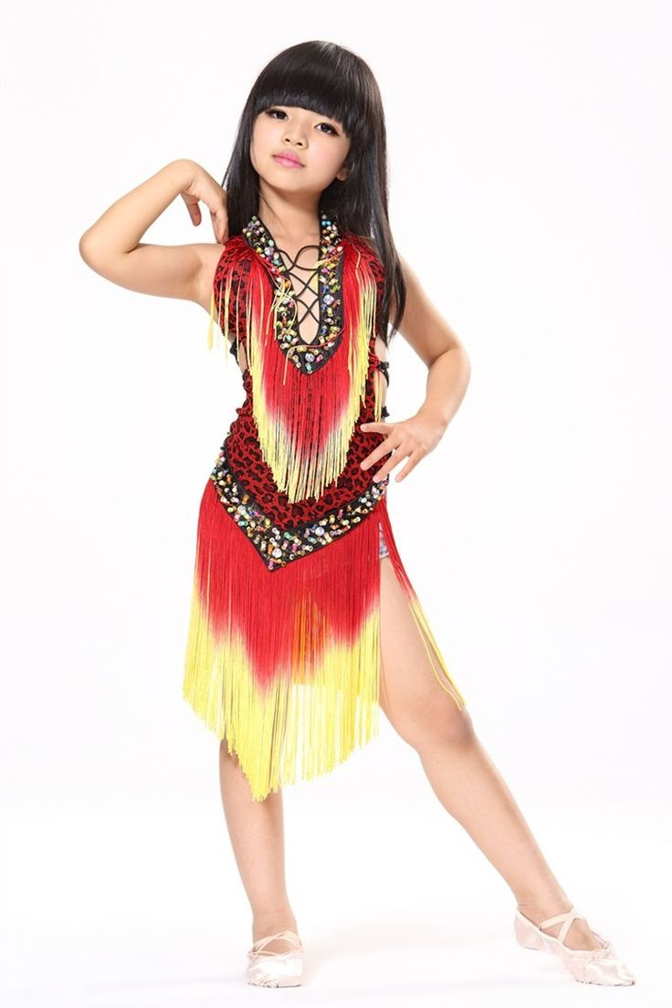 US $22.05 / piece Latin Dance Dress For Girls Stage Costumes Tassel Child  Dress For Dancing
