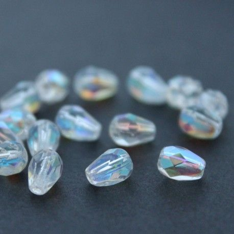 A pack of 20 pretty Czech, fire polished, glass pear drop beads.